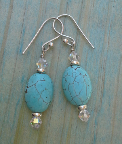 Turquoise Howlite Oval Gemstone Earrings with Swarovski Crystals