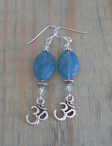 Ohm Dangle Earrings - Aquamarine Ovals with Green Swarovski Crystals - Gina's Charms