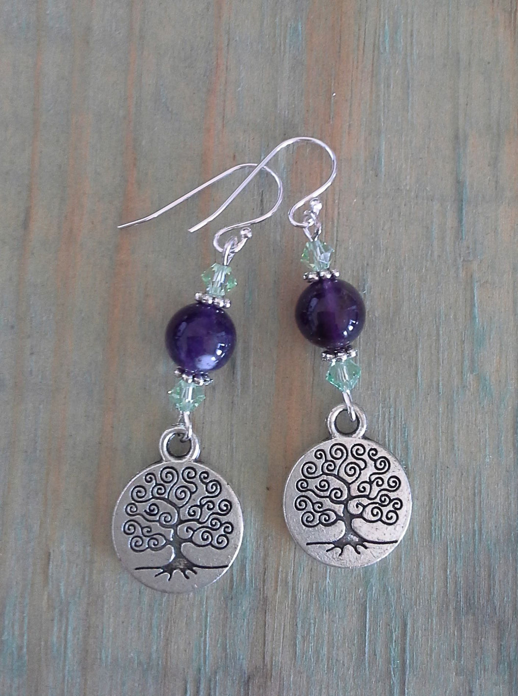 Tree of Life Dangle Earrings - Amethyst with Green Swarovski Crystals