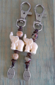 BELIEVE BagCharm/Keychain Set - Howlite & Malay Jade with Cream Elephant Features