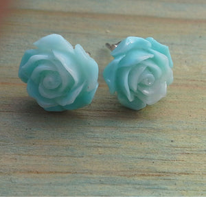 Sterling Silver Aqua Green Rose Large Studs