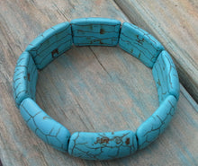 Load image into Gallery viewer, Turquoise Howlite Rectangle Linked Gemstone Bracelet - Gina's Charms