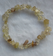 Load image into Gallery viewer, Yellow Rutilated Quartz Gemstone Chips Bracelet