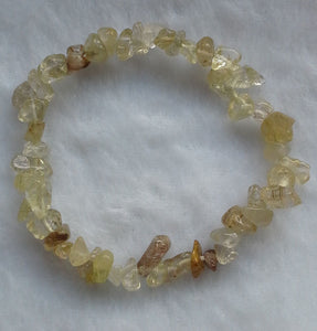 Yellow Rutilated Quartz Gemstone Chips Bracelet