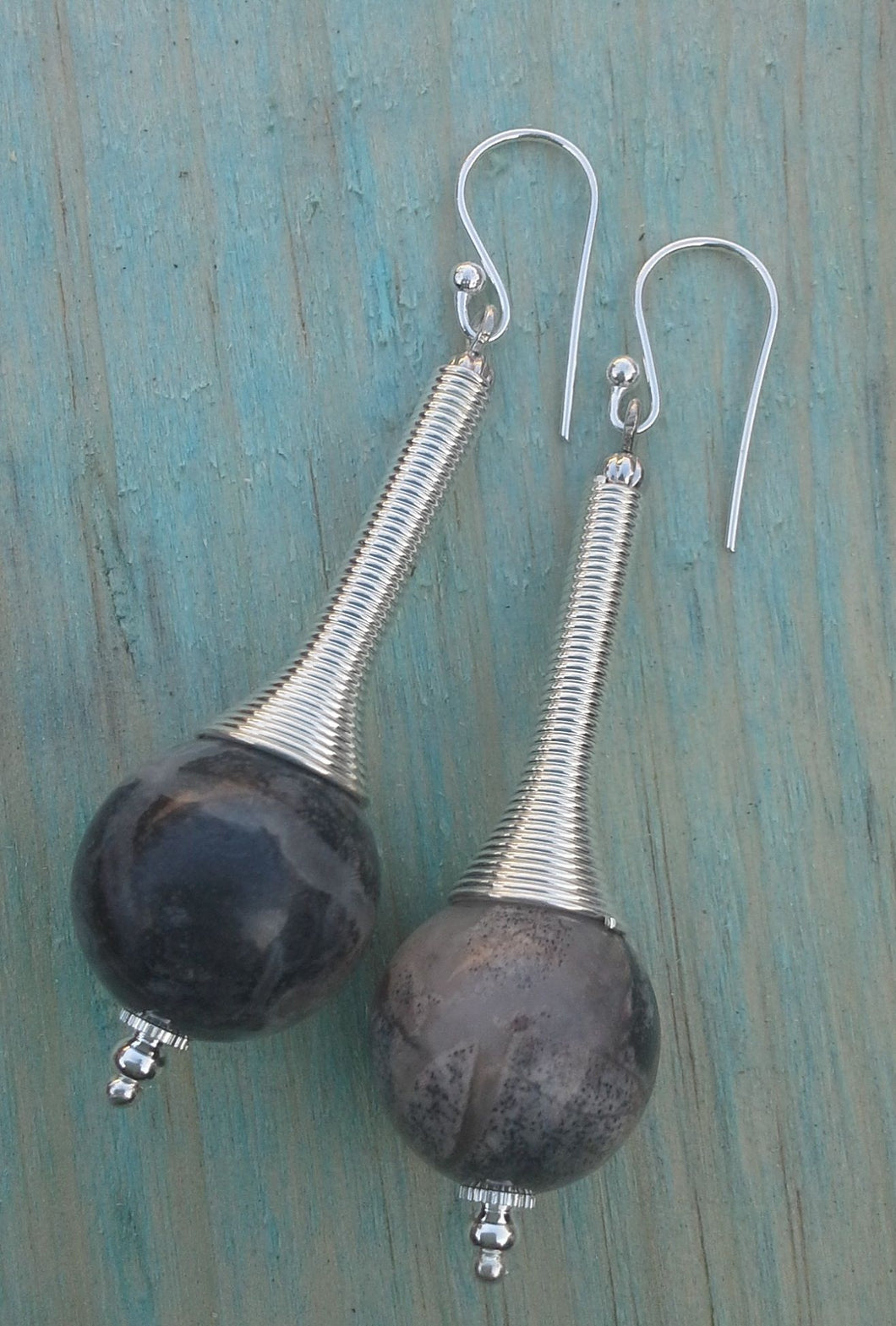 Silver Leaf Jasper Gemstone Spiral Drop Earrings