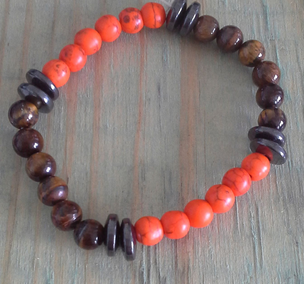 Kid's Orange Howlite, Tiger Eye & Hematite Protection Bracelet