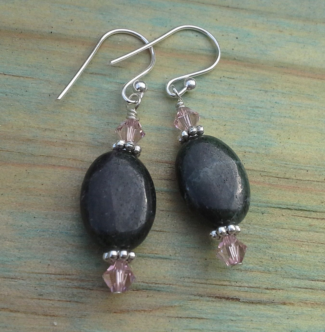 Anyolite Oval Gemstone Earrings with Swarovski Crystals