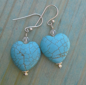 Turquoise Howlite Gemstone Hearts Earrings with Swarovski Crystals