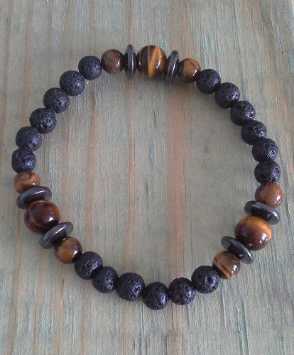 Kid's Lava, Tiger Eye & Hematite Protection Bracelet