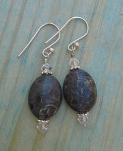 Load image into Gallery viewer, Jasper Oval Gemstone Earrings with Swarovski Crystals