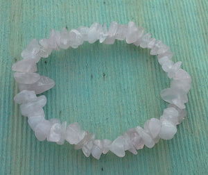 Rose Quartz Gemstone Chips Bracelet - Gina's Charms