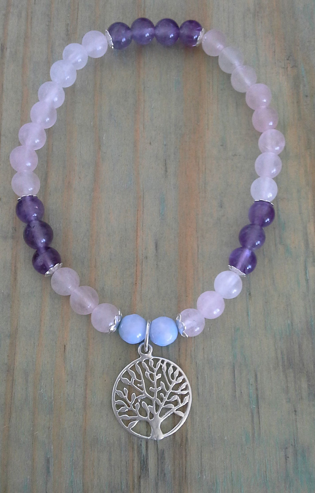 925 Sterling Silver Bracelet with Tree of Life Charm - Rose Quartz, Amethyst & Blue Lace Agate