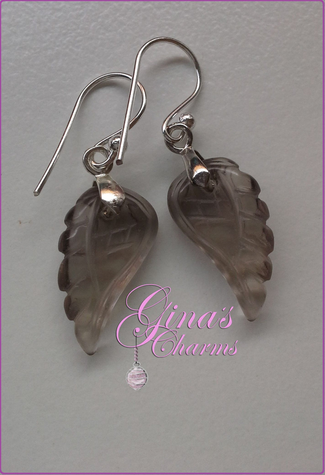 Smoky Quartz Angel Wings Gemstone Earrings