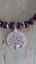 Load image into Gallery viewer, 925 Sterling Silver Garnet Bracelet with Tree of Life Charm - Gina's Charms