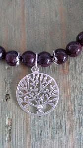 925 Sterling Silver Garnet Bracelet with Tree of Life Charm