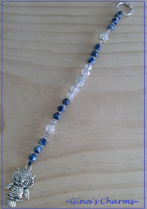Blue Malay Jade Suncatcher with Owl Charm - Gina's Charms