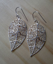 Load image into Gallery viewer, Leaf Charm Earrings - Sterling Silver - Large Filigree