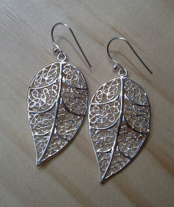 Leaf Charm Earrings - Sterling Silver - Large Filigree