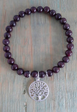Load image into Gallery viewer, 925 Sterling Silver Garnet Bracelet with Tree of Life Charm