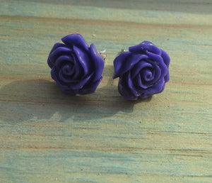 Sterling Silver Resin Rose - Large Studs Range