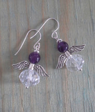 Load image into Gallery viewer, Amethyst Angel Earrings with Crystal Rondelles