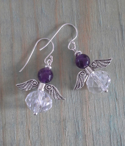 Amethyst Angel Earrings with Crystal Rondelles