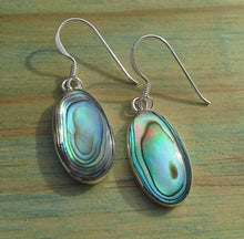 Load image into Gallery viewer, Paua Shell Gemstone Oval Drop Earrings - Sterling Silver Medium