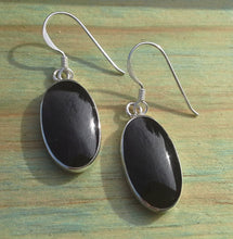 Load image into Gallery viewer, Onyx Gemstone Oval Drop Earrings - Sterling Silver Medium