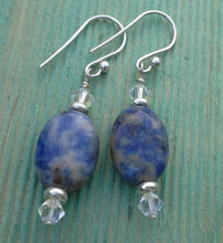 Load image into Gallery viewer, Sodalite Oval Gemstone Earrings with Swarovski Crystals