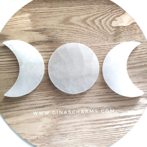 Selenite Charging Plate - Full Moon