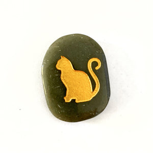 Totem Animal Palmstone - Cat - Grey Aventurine