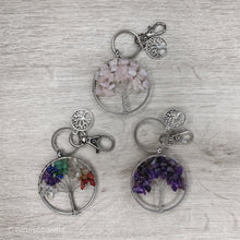 Load image into Gallery viewer, Rose Quartz Tree of Life Clip-On Bagcharm Keychain - Gina's Charms
