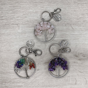 Rose Quartz Tree of Life Clip-On Bagcharm Keychain - Gina's Charms