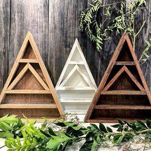 Triangle Crystal Display Stand - Dark Brown