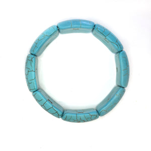 Turquoise Howlite Rectangle Linked Gemstone Bracelet