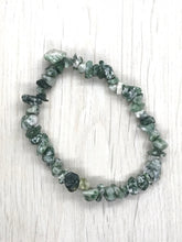 Load image into Gallery viewer, Tree Moss Agate Gemstone Chips Bracelet - Gina's Charms