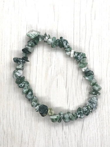 Tree Moss Agate Gemstone Chips Bracelet