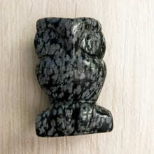 Load image into Gallery viewer, Crystal OWL Carving - Snowflake Obsidian #328