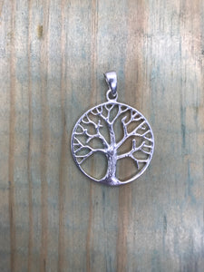 Tree of Life Pendant - Sterling Silver Large Round
