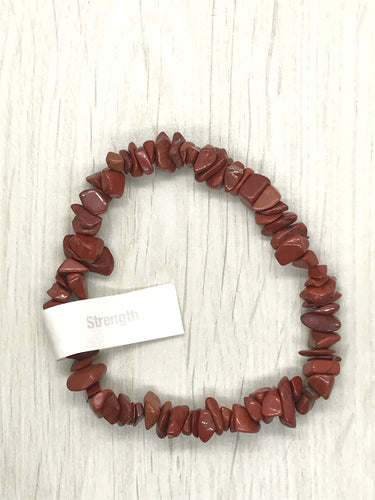 Red Jasper Gemstone Chips Bracelet