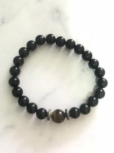 Unisex Bracelet - Black Onyx & Tiger Eye #15 - Gina's Charms