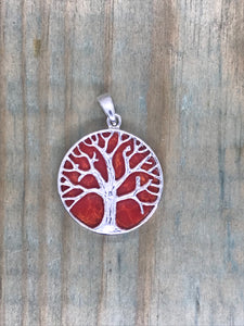 Tree of Life Pendant - Coral Sterling Silver - Gina's Charms