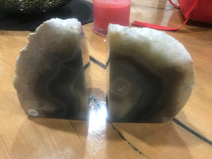 Agate Crystal Bookends - Grey #466