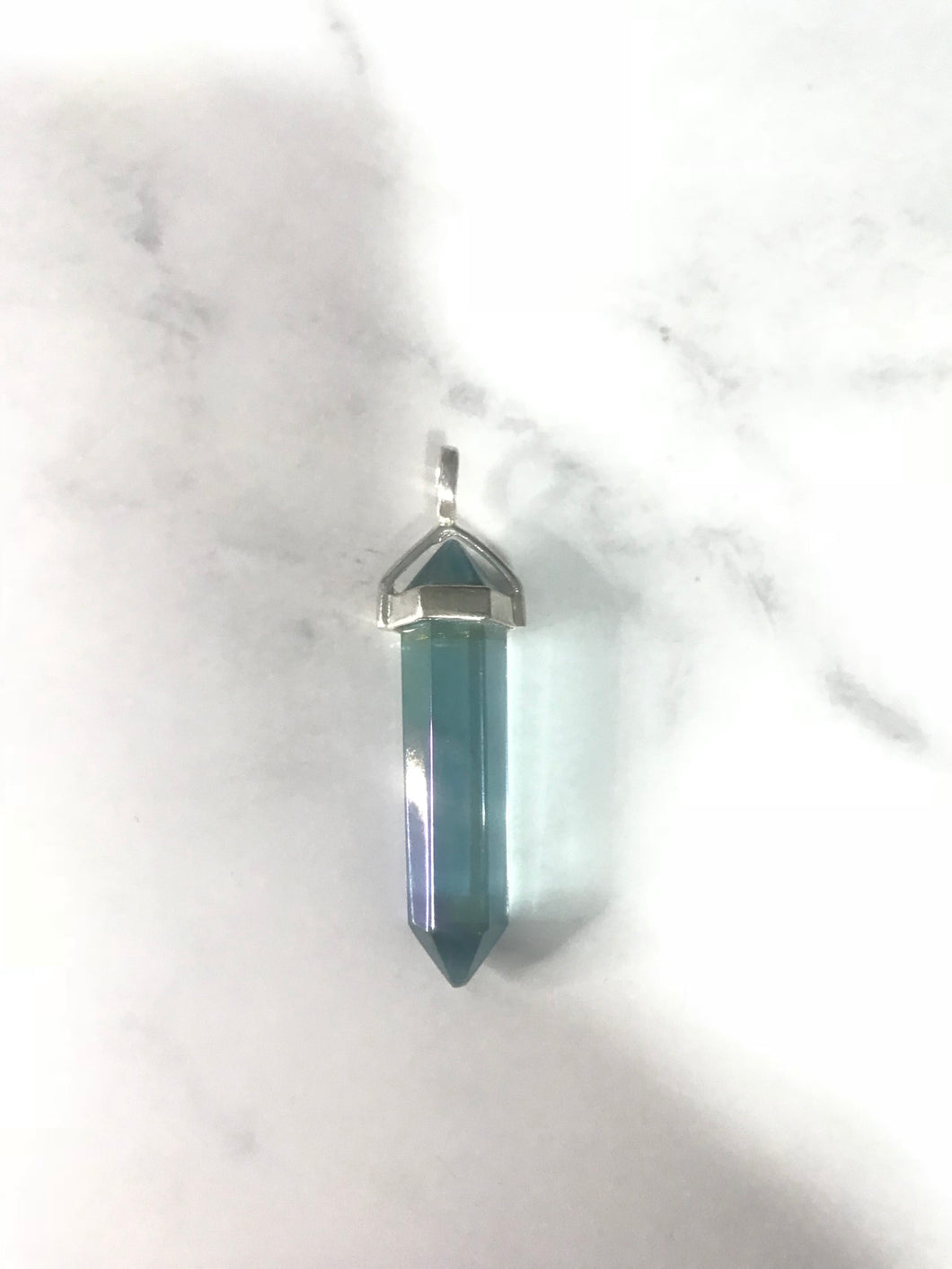 Sterling Silver Double Terminated Point Crystal Pendant - Aqua Aura