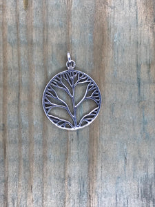 Tree of Life Pendant - Sterling Silver Large Round #2 - Gina's Charms