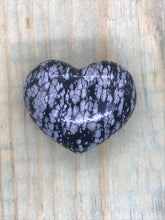 Load image into Gallery viewer, Gemstone Puff Heart - Snowflake Obsidian