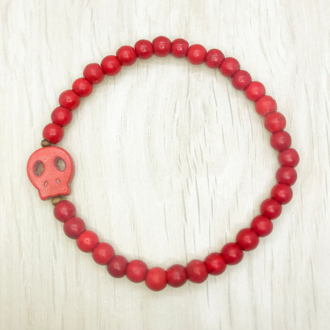 Unisex Bracelet - Red Coral with Red Skull Charm