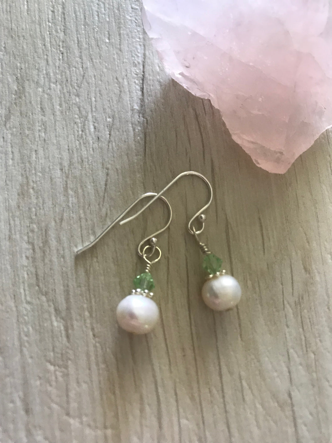 Fresh Water Pearl Earrings with Green Chrysolite Swarovski Crystals