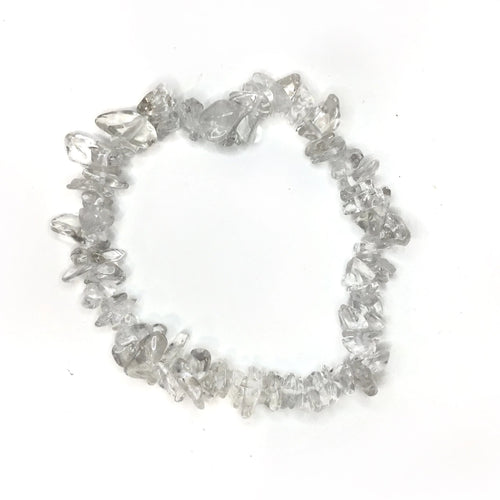 Clear Crystal Quartz Gemstone Chips Bracelet - Gina's Charms