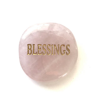 Crystal - Wordstone - BLESSINGS - Rose Quartz - Gina's Charms